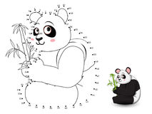 Panda Connect the dots and color. Vector Stock Image