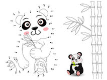 Panda Connect the dots and color. Vector Royalty Free Stock Image