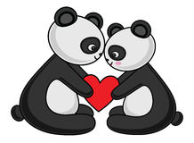Panda Couple Love Vector Illustration Stock de ilustración