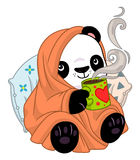 Panda in a cozy blanket with tea. Cute cartoon panda with cup of hot tea in a cozy blanket royalty free illustration
