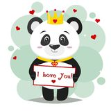 Happy Panda Cartoon For You Design Stock Illustration