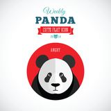 Panda Cute Flat Animal Icon hebdomadaire - fâché Photographie stock