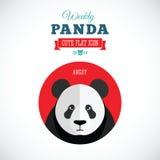 Panda Cute Flat Animal Icon hebdomadaire - fâché Illustration Libre de Droits