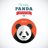 Panda Cute Flat Animal Icon hebdomadaire - souriant Photos libres de droits