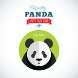 Panda Cute Flat Animal Icon hebdomadaire - étonné Photo stock