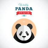 Panda Cute Flat Animal Icon semanal - triste Foto de archivo