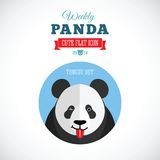 Panda Cute Flat Animal Icon settimanale - lingua fuori Immagini Stock