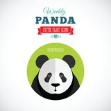 Panda Cute Flat Animal Icon settimanale - sorpreso Fotografia Stock