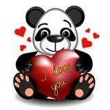 Panda d'amour avec le coeur Photographie stock