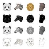 Panda d'animal sauvage, zèbre, lion, hippopotame Icônes réglées de collection d'animal réaliste dans le contour de monochrome de  Photo stock