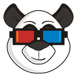 Panda in 3d glasses. Cute panda in 3d glasses Stock Photo