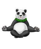 Panda dans une pose de méditation de yoga avec les perles vertes Illustration Stock