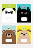 Panda de bébé, chat, chien, chaton de tête de minou d'ours Ensemble de calibre de livre de composition en couverture de carnet Pa illustration libre de droits