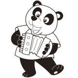 Panda de bande dessinée jouant un accordéon Photographie stock