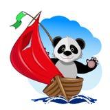 Panda in de boot vector illustratie