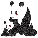 Panda de China feita de ícones da ecologia ilustração stock