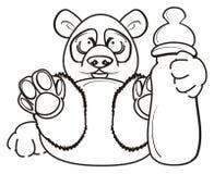 Panda de coloration avec la bouteille de lait illustration libre de droits
