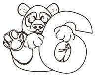 Panda de coloration avec le symbole six illustration de vecteur