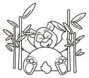 Panda de coloration parmi le bambou illustration stock