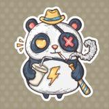 Panda de fumo dos desenhos animados ilustração royalty free