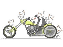 Panda de Kawaii e gatos e motocicleta ilustração royalty free