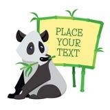 Panda de la historieta que se sienta con el bambú aislado encendido Foto de archivo libre de regalías