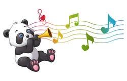 Panda de la historieta que toca una trompeta stock de ilustración