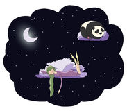 Panda de la muchacha de la noche Fotografía de archivo libre de regalías