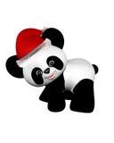 Panda de la Navidad con el sombrero de Santa - dando vuelta Imagen de archivo libre de regalías