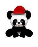 Panda de la Navidad con el sombrero de Santa - sentándose Fotos de archivo