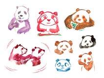 Panda degli autoadesivi dell'acquerello illustrazione di stock