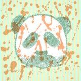 Panda del bosquejo con el bigote, fondo del vector Foto de archivo libre de regalías