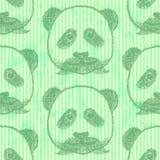 Panda del bosquejo con el bigote, modelo inconsútil Foto de archivo
