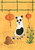 Panda del buon anno Fotografia Stock Libera da Diritti