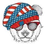 Panda del drenaje de la mano en un sombrero de los E.E.U.U. Ilustración del vector Foto de archivo