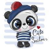 Panda del fumetto del bambino in costume del marinaio royalty illustrazione gratis