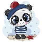 Panda del fumetto del bambino in costume del marinaio illustrazione di stock