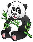Panda del fumetto che mangia bambù Immagini Stock Libere da Diritti