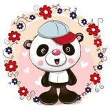 Panda della cartolina d'auguri con i fiori royalty illustrazione gratis