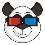 Panda in den Gläsern 3d Stockfoto