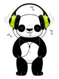 Panda in den Kopfhörern Lizenzfreie Stockbilder