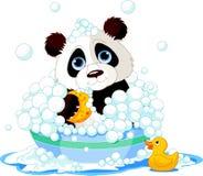Panda, der ein Bad hat stock abbildung