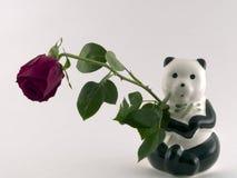 Panda, der eine Rose anhält Stockfoto