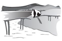 Panda on the destroyed bridge. A panda stands on the destroyed bridge Royalty Free Stock Image
