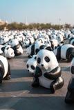 Panda di Mache della carta nel giro del mondo di 1.600 panda a Bangkok Immagine Stock Libera da Diritti