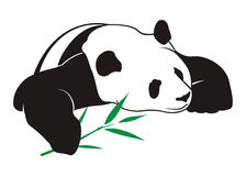 Panda do vetor com bambu Foto de Stock Royalty Free