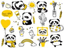 Panda doodle kid set Royalty Free Stock Photos