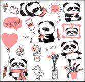 Panda doodle kid set Royalty Free Stock Image
