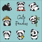 Panda vector doodle kid set. Stock Image
