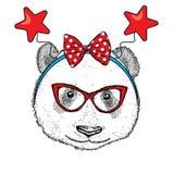 Panda drôle dans la jante de fête avec les étoiles Dirigez l'illustration pour une carte postale ou une affiche illustration libre de droits